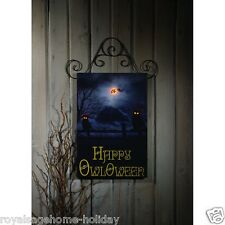X46647 Lighted Owloween Door Canvas Painting Picture Art Owl Halloween Witch