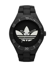 Adidas Men's ADH2643 Melbourne Black Band Silver Treefoil Watch