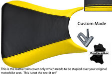 BLACK AND YELLOW CUSTOM 03-05 FITS YAMAHA 600 YZF R6 REAL LEATHER SEAT COVER