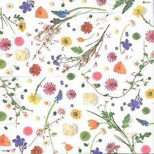 2 Serviettes en papier Fleurs séchées Decoupage Paper Napkins Dried Flowers