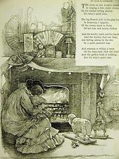 "Julie Lippmann POEM Mother & Baby at Fireplace ""QUIET TIME"" 1886 Print Matted"