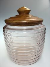 Vintage Pink Glass Honey Pot Shaped Tobacco Canister With Wood Lid