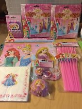 Disney Princess Birthday Party Lot Straws Placemats Candles Cupcake SnackNapkins