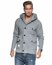 Voi Jeans Knitted Grey Hooded Cardigan, Size Small