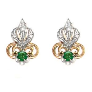 14k Rose & White Gold Genuine Emerald & Diamond Fleur de Lis Earrings G VS1