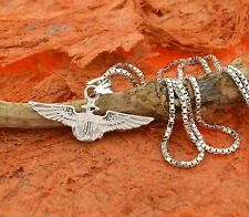 US Air Force Emblem Pendant-Sterling Silver- Army,Pilot,Charm,Wings,Gift Idea
