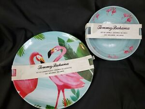 Tommy Bahama Melamine Dinner Plate Bowl Set 4 Pink Flamingo Palms Tropical NEW