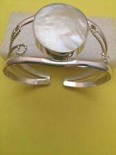 White Mother Of Pearl Fancy Sterling Silver Cuff Bracelet  Healing - Protection