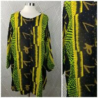 African Print Batik Tunic Top Plus Free Size XL 1X 2X Bright Button Up Shirt