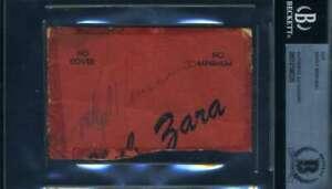 Rocky Marciano BAS Beckett Coa Autograph Hand Signed Menu Cut