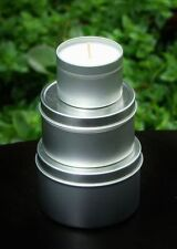 GIFT PACK of 3 BLUE CYPRESS & JASMINE Scented Eco SOY CANDLE TINS GARDEN WEDDING