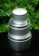 GIFT PACK of 3 WHITE JASMINE & ENGLISH IVY Scent SOY CANDLE TINS GARDEN WEDDING