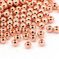 1000pcs Rose Gold Brass Metal Beads Smooth Seamless Loose Spacer 3mm 4mm 5mm 6mm