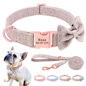 Bow Tie Personalised Dog Collar and Lead set Free Engraved ID Name Collars Pink