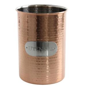 Hammered Effect Copper Utensils Holder Conical Rack Kitchen Drainer Organiser