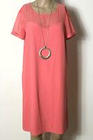 PROMOD Kleid Gr. 40 lachs-rosa knielang Kurzarm Kleid mit Häkelspitze