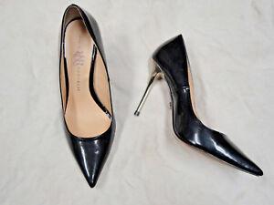 Rock & Republic black faux patent leather shoe  Size 8  Silver heel