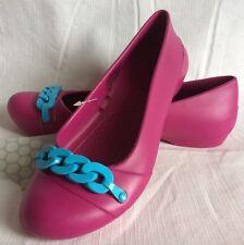 Crocs Gianna Link Size 6 Ballet Flat Berry Pink Electric Blue Slip On Shoe NEW