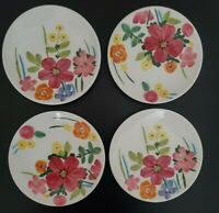 NEW (4) Maxcera Spring Collection Colorful Flowers Dessert Plates Home Decor