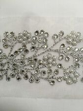 WIDE INDIAN SILVER PEARL & CRYSTAL FLOWERS BORDER LACE TRIM ON NET-one Metre
