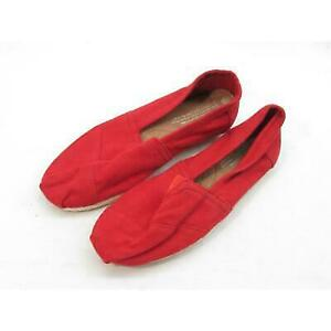 Tom's Women's Classic Red Canvas Flat 6M