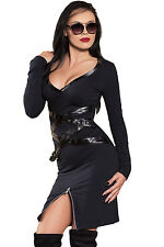 Abito aperto aderente Spacco Zip Finta Pelle Ballo Party Zipped Slit Dress S