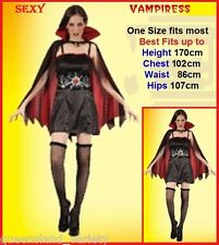 VAMPIRESS COSTUME, CAPE & SPIDER BELT Halloween Gothic Horror Fancy Dress Party