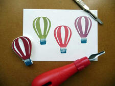 Hot Air Balloon Rubber Stamp, Hand Carved, Fabric Stamp, Hand Made, Stamping Up