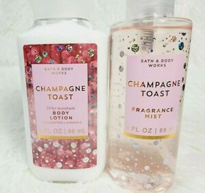 Bath & Body Works CHAMPAGNE TOAST Travel Set Mist Lotion New Black Currant Sent