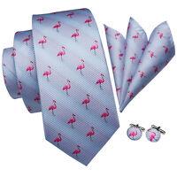 Pink Flamingo Blue Mens Tie Animal Necktie Silk Jacquard Woven Set Hanky Links