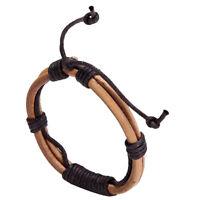 Men's Punk Adjustable Multilayer Leather Wrap Cuff Bracelet Wristband Tribal