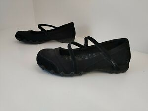 SKECHERS Black Ladies Mary Jane Shoes, Size 7 UK 40 EU Relaxed Fit, Memory Foam.
