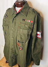 Pepe Jeans jacket London size 2XL Unisex OD Green Embroidered Epaulets Skulls