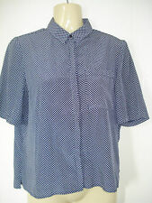 Womens Atmosphere Retro Button Through Star Blue Top Blouse 8 UK