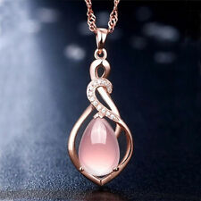 Rose Gold Fashion Statement Women's Crystal Pink Pendant Necklace Jewelry