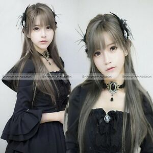 Cute Harajuku Lolita Wig Smoke Grey Full Long Straight Hair Cosplay