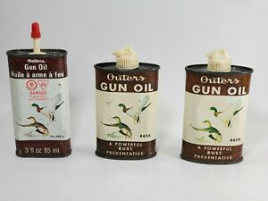 OLD VINTAGE LOT OF 3 OUTERS 445A GUN OIL TIN CANS 2 FLIP 1 STEM WITH CAP EMPTY