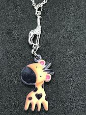 """Giraffe Baby Connect Double-sided Art Charm Tibetan Silver 18"""" Necklace D72"""