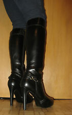 Tall Knee High Black Riding Boots with Harness Buckles - Size 9.5 M