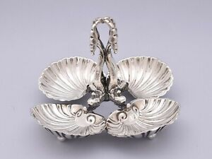 QUADRUPLE SOLID SILVER TRAY FOR SNACKS OR SWEETS