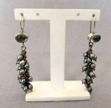 Artisan Beautiful Sterling Silver Real Pearl Blue Topaz Cascade Dangle Earrings