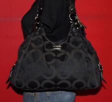 COACH Madison OP ART Maggie Brown Black Sateen Leather Shoulder Purse Bag 14305
