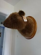 "New W/Tags! Plush Brown Grizzly Bear (30"" Girth) Wall Mount w/Plaque 11x14""!"