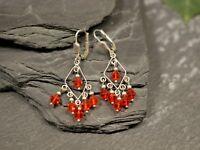 925 Silber Ohrringe Filigran Zart Leicht Rote Kristallform Kunststoff Bezaubernd