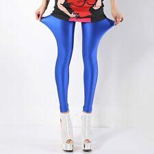 Women Slim Neon Shiny Pants Trousers Leggings Stretch High Elastic Pencil Skinny