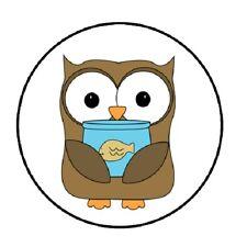 "48 Owl Fish Bowl!!!  ENVELOPE SEALS LABELS STICKERS 1.2"" ROUND"