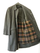 Mens Wool Black & Gray Tweed Top Coat Zip Out Liner 44 Inch Chest