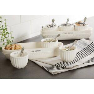Mud Pie E1 Home Circa Apps Triple Threat Cracker Bowls & Spoons 7pc Set 48500113