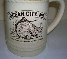"Ocean City Md. Mug ""White Marlin Capital of the World"" Large Vintage Ceramic Tan"