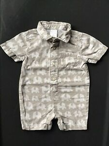 Gymboree 3 To 6 Months Baby Boy Collared Tan Elephant Outfit